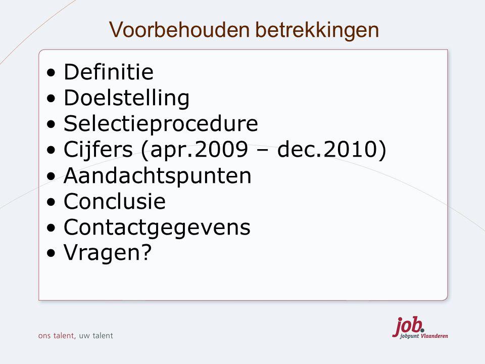 Voorbehouden betrekkingen Definitie Doelstelling Selectieprocedure Cijfers (apr.2009 – dec.2010) Aandachtspunten Conclusie Contactgegevens Vragen?