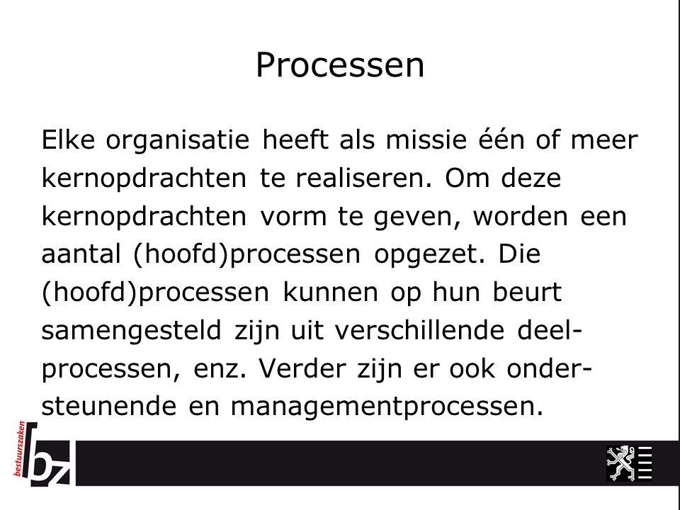 Processen Elke organisatie heeft als missie één of meer kernopdrachten te realiseren. Om deze kernopdrachten vorm te geven, worden een aantal (hoofd)p