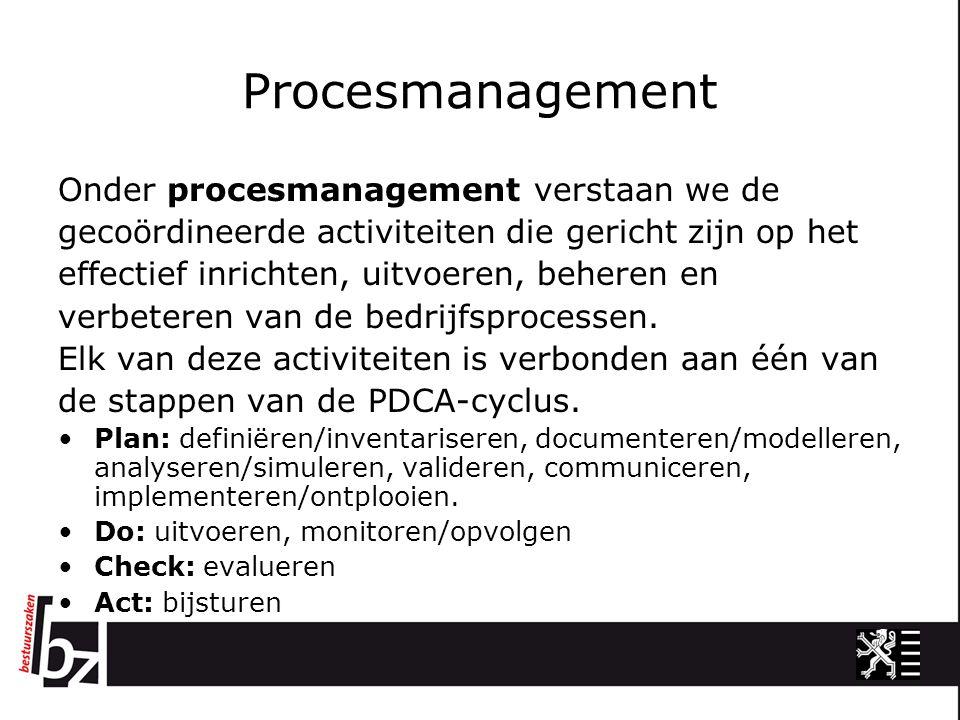Procesmanagement Onder procesmanagement verstaan we de gecoördineerde activiteiten die gericht zijn op het effectief inrichten, uitvoeren, beheren en