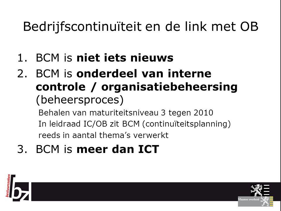Bedrijfscontinuïteit en de link met OB 1.BCM is niet iets nieuws 2.BCM is onderdeel van interne controle / organisatiebeheersing (beheersproces) Behal
