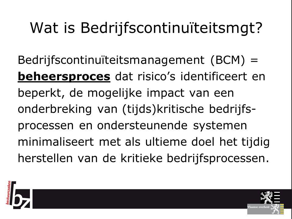 Wat is Bedrijfscontinuïteitsmgt? Bedrijfscontinuïteitsmanagement (BCM) = beheersproces dat risico's identificeert en beperkt, de mogelijke impact van