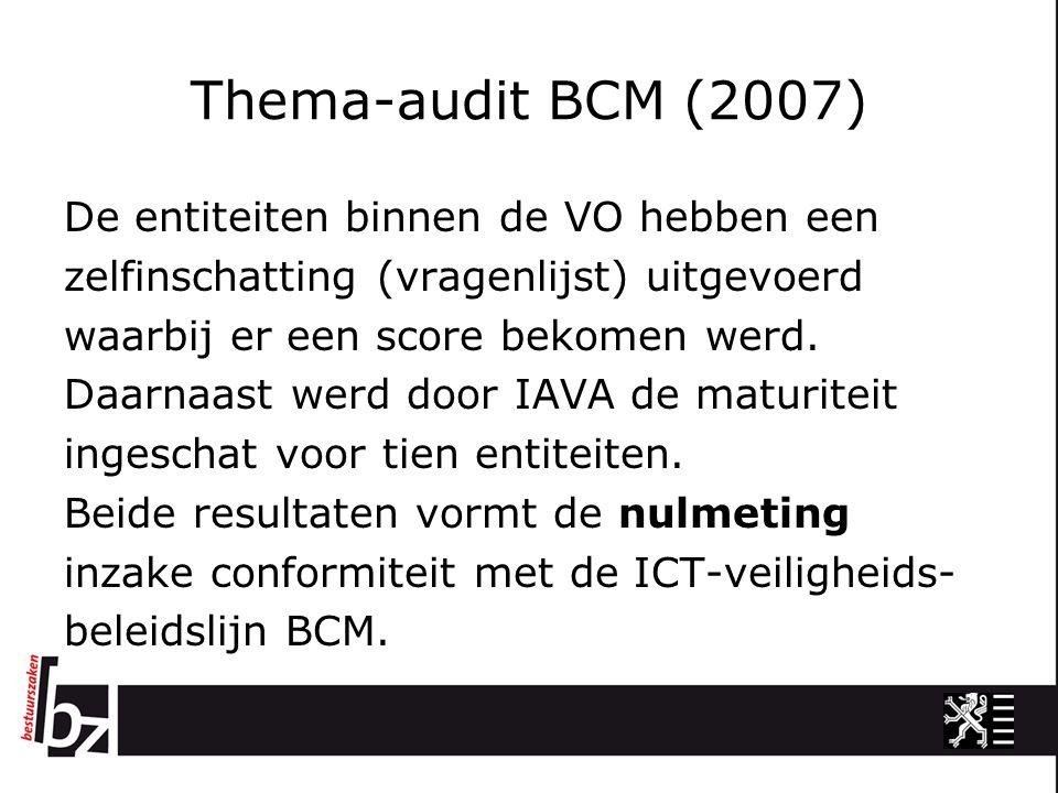 Thema-audit BCM (2007) De entiteiten binnen de VO hebben een zelfinschatting (vragenlijst) uitgevoerd waarbij er een score bekomen werd. Daarnaast wer