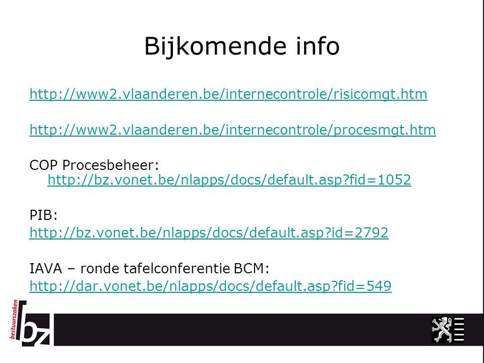 Bijkomende info http://www2.vlaanderen.be/internecontrole/risicomgt.htm http://www2.vlaanderen.be/internecontrole/procesmgt.htm COP Procesbeheer: http