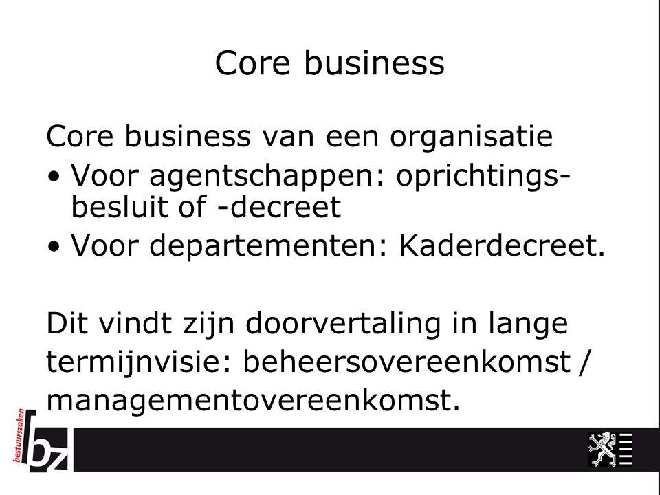 Core business Core business van een organisatie Voor agentschappen: oprichtings- besluit of -decreet Voor departementen: Kaderdecreet. Dit vindt zijn
