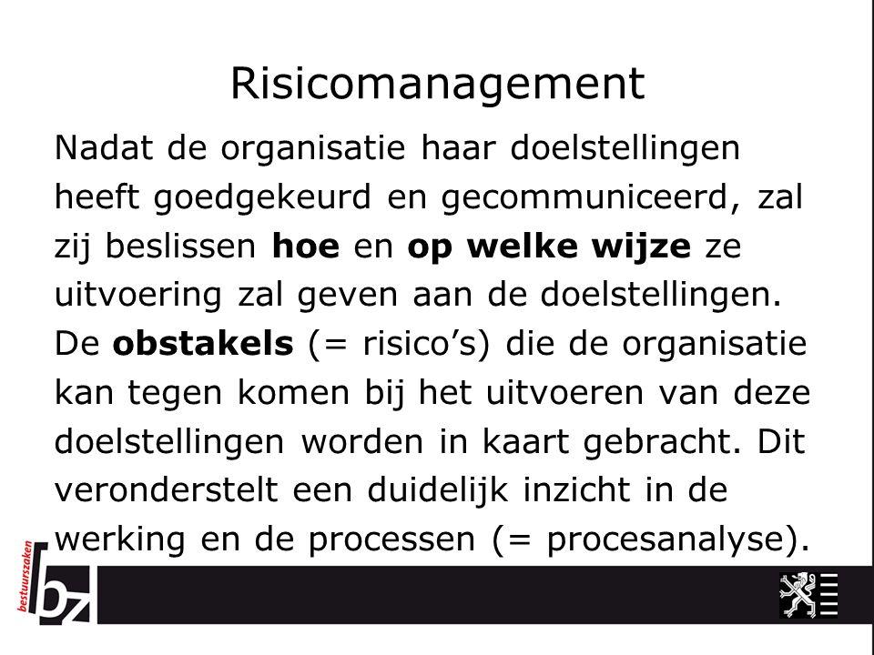Risicomanagement Nadat de organisatie haar doelstellingen heeft goedgekeurd en gecommuniceerd, zal zij beslissen hoe en op welke wijze ze uitvoering z