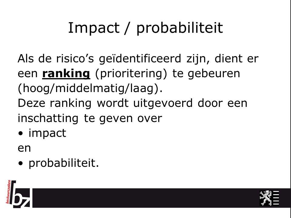 Impact / probabiliteit Een inschatting over de probabiliteit is een inschatting over de kans dat het risico zich effectief zal voordoen (de waarschijnlijkheid) Bij de inschatting van de impact wordt een oordeel gegeven hoe erg het dan voor de organisatie is als het risico zich effectief manifesteert.