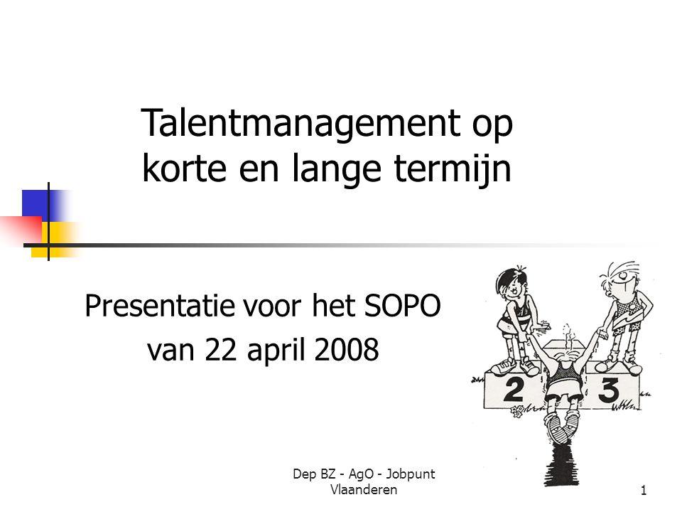 Dep BZ - AgO - Jobpunt Vlaanderen1 Presentatie voor het SOPO van 22 april 2008 Talentmanagement op korte en lange termijn