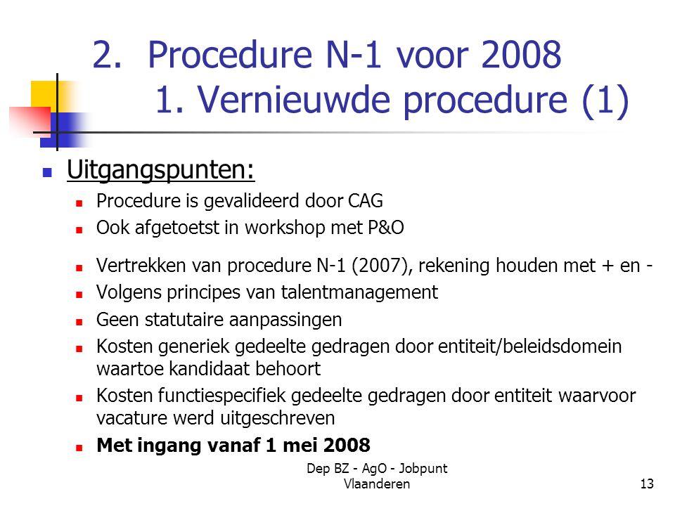 Dep BZ - AgO - Jobpunt Vlaanderen13 2. Procedure N-1 voor 2008 1.