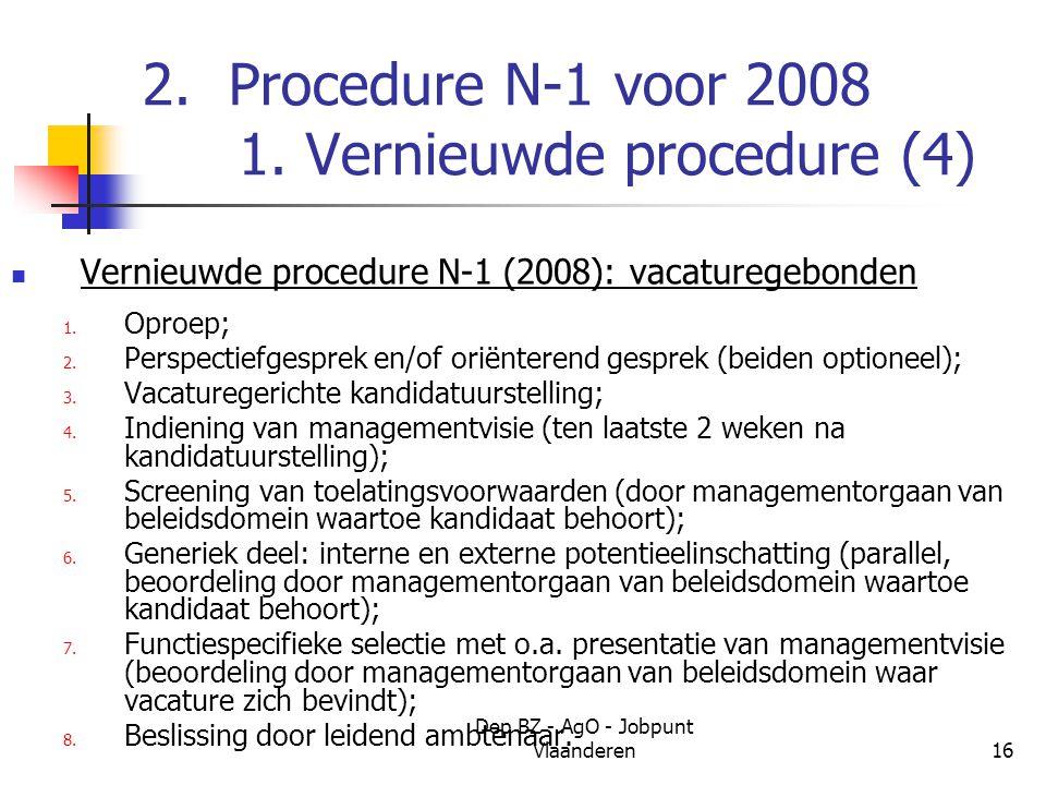 Dep BZ - AgO - Jobpunt Vlaanderen16 2. Procedure N-1 voor 2008 1.
