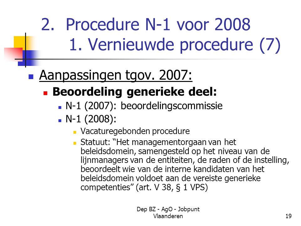 Dep BZ - AgO - Jobpunt Vlaanderen19 2. Procedure N-1 voor 2008 1.