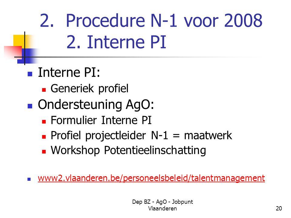 Dep BZ - AgO - Jobpunt Vlaanderen20 2. Procedure N-1 voor 2008 2.