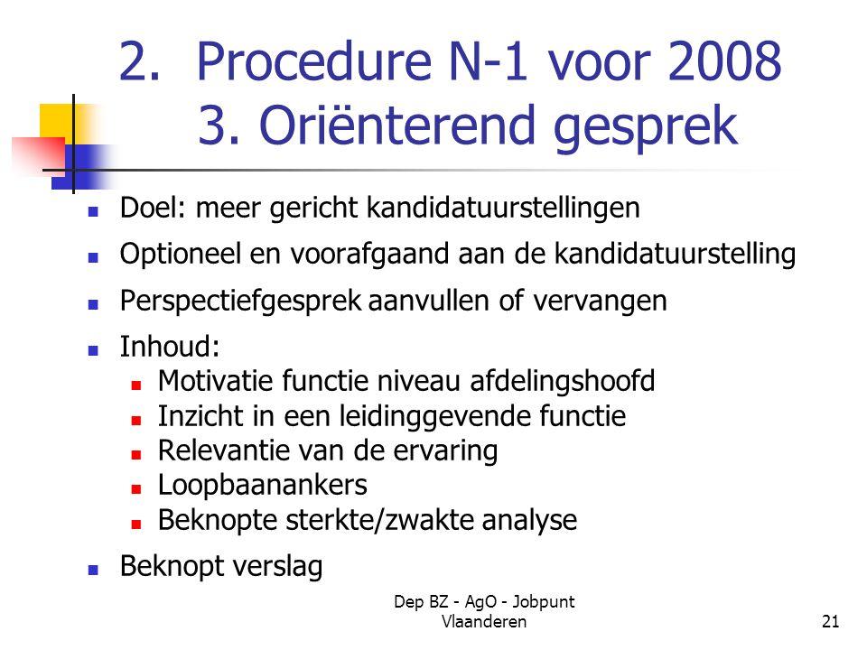 Dep BZ - AgO - Jobpunt Vlaanderen21 2. Procedure N-1 voor 2008 3.