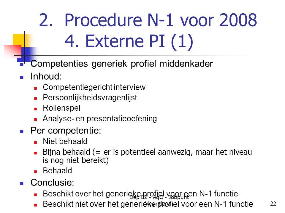 Dep BZ - AgO - Jobpunt Vlaanderen22 2. Procedure N-1 voor 2008 4.