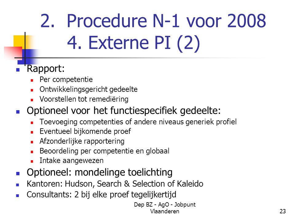 Dep BZ - AgO - Jobpunt Vlaanderen23 2. Procedure N-1 voor 2008 4.