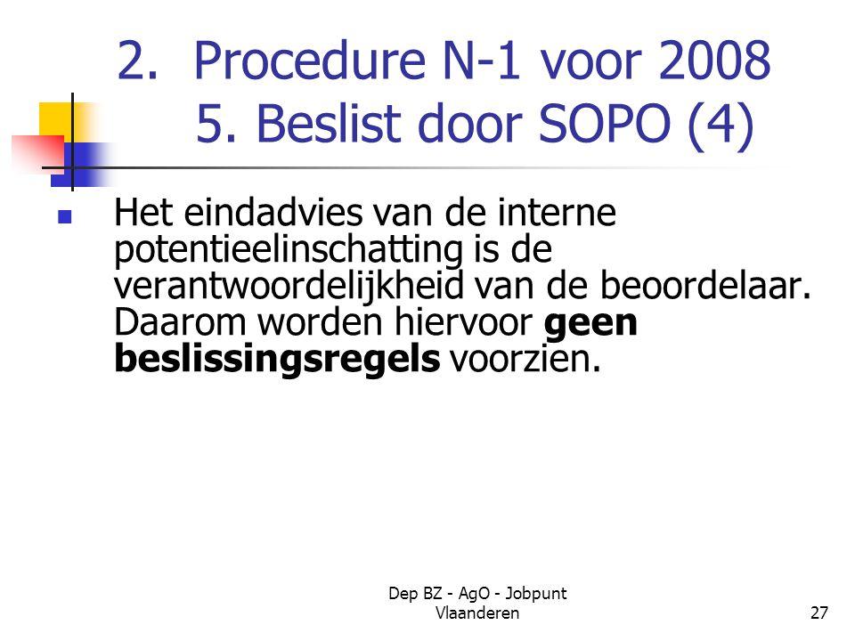 Dep BZ - AgO - Jobpunt Vlaanderen27 2. Procedure N-1 voor 2008 5.