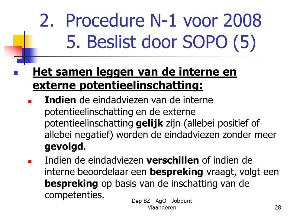 Dep BZ - AgO - Jobpunt Vlaanderen28 2. Procedure N-1 voor 2008 5.