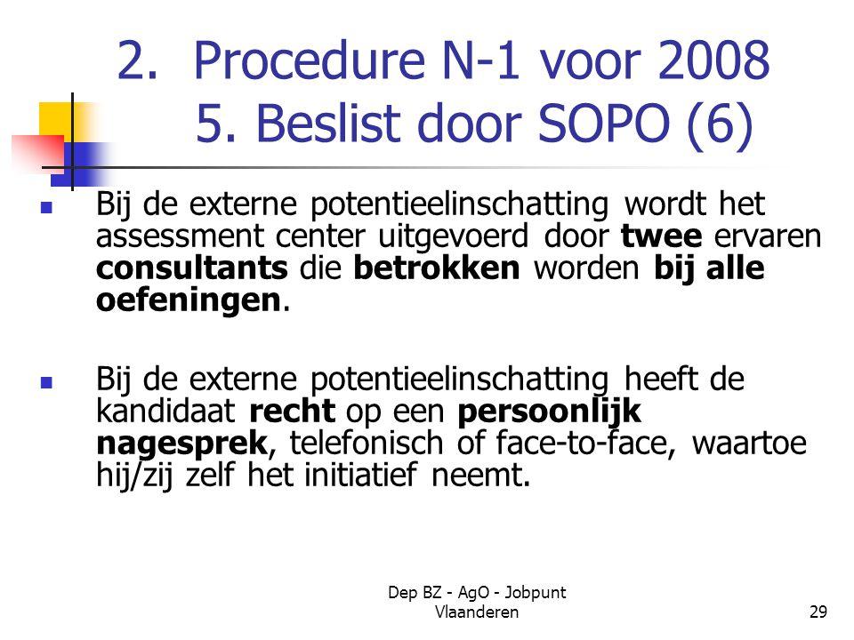 Dep BZ - AgO - Jobpunt Vlaanderen29 2. Procedure N-1 voor 2008 5.