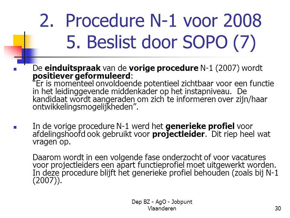 Dep BZ - AgO - Jobpunt Vlaanderen30 2. Procedure N-1 voor 2008 5.