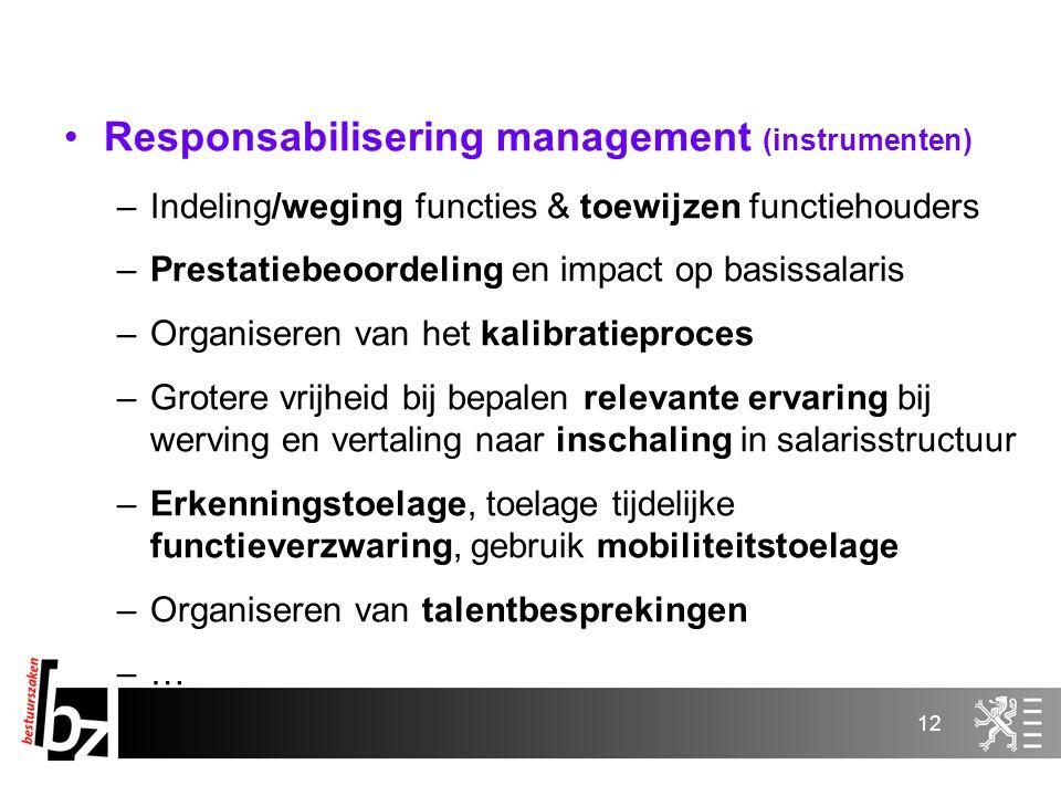 12 Responsabilisering management (instrumenten) –Indeling/weging functies & toewijzen functiehouders –Prestatiebeoordeling en impact op basissalaris –