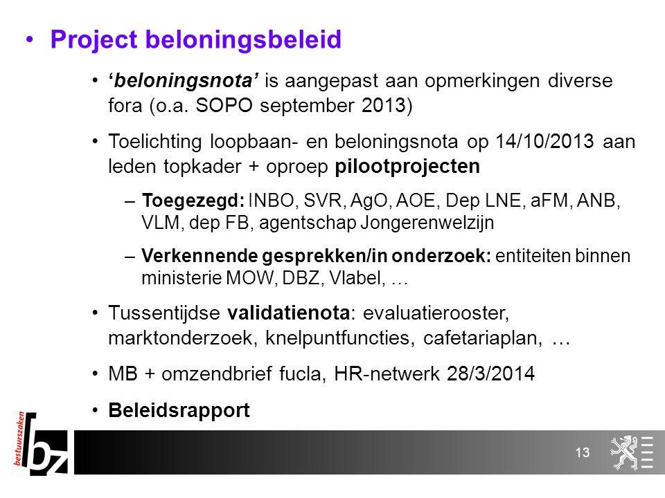 13 Project beloningsbeleid 'beloningsnota' is aangepast aan opmerkingen diverse fora (o.a. SOPO september 2013) Toelichting loopbaan- en beloningsnota