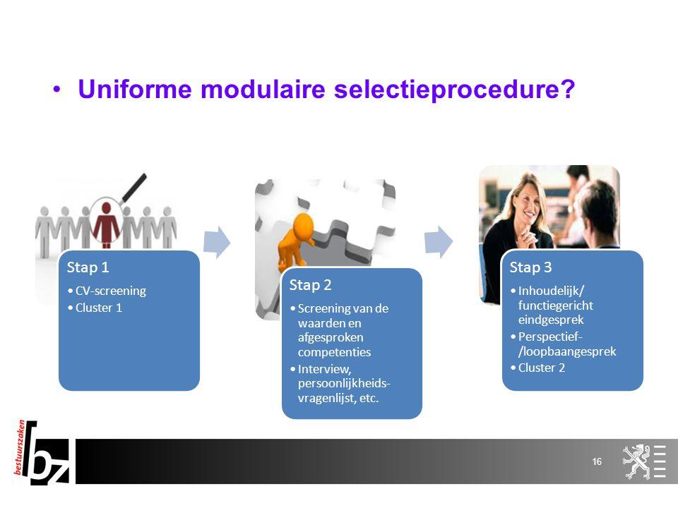 Stap 1 CV-screening Cluster 1 Stap 2 Screening van de waarden en afgesproken competenties Interview, persoonlijkheids- vragenlijst, etc. Stap 3 Inhoud