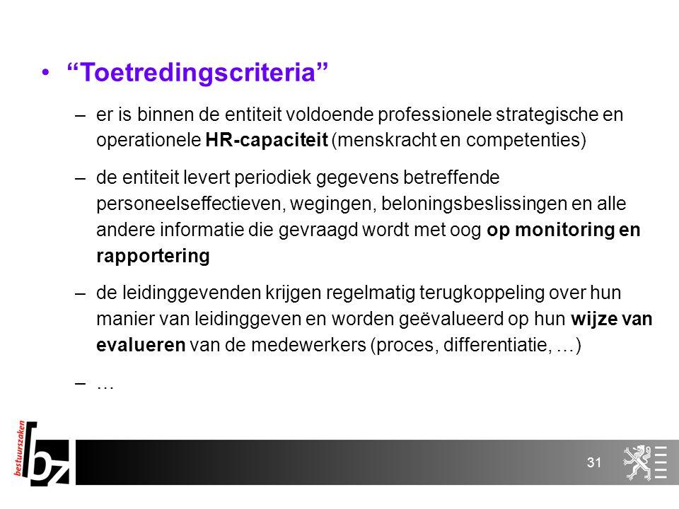 """31 """"Toetredingscriteria"""" –er is binnen de entiteit voldoende professionele strategische en operationele HR-capaciteit (menskracht en competenties) –de"""