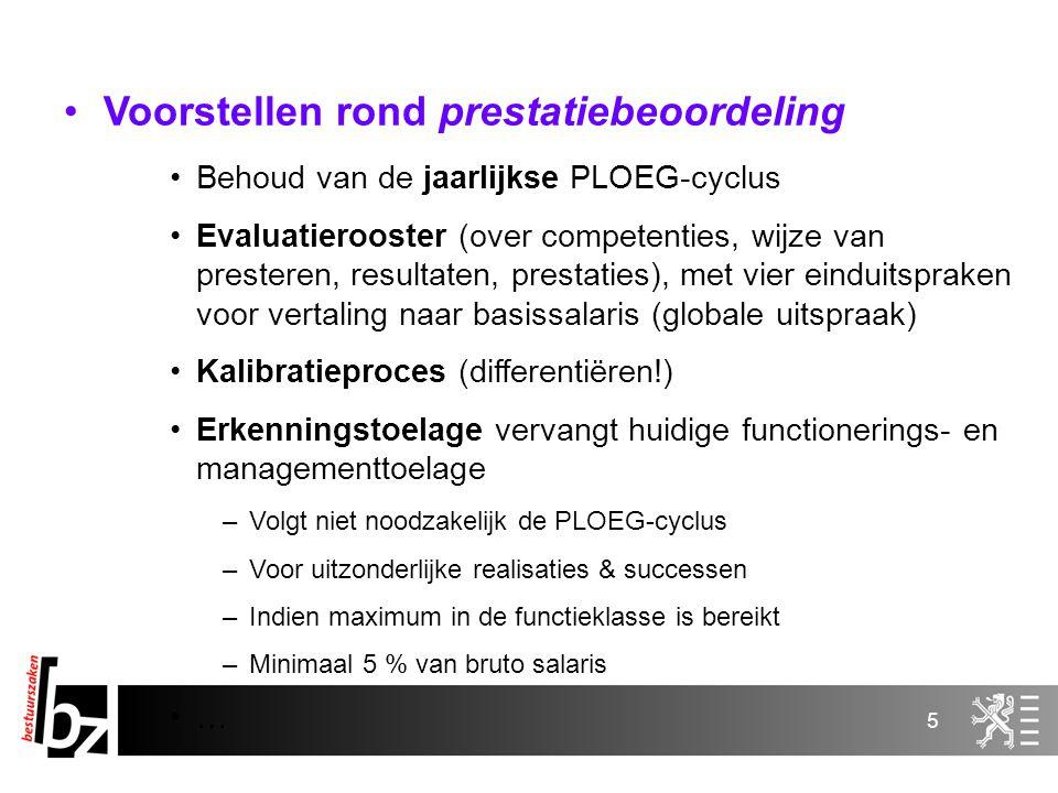 5 Voorstellen rond prestatiebeoordeling Behoud van de jaarlijkse PLOEG-cyclus Evaluatierooster (over competenties, wijze van presteren, resultaten, pr