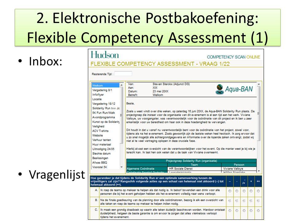2. Elektronische Postbakoefening: Flexible Competency Assessment (1) Inbox: Vragenlijst