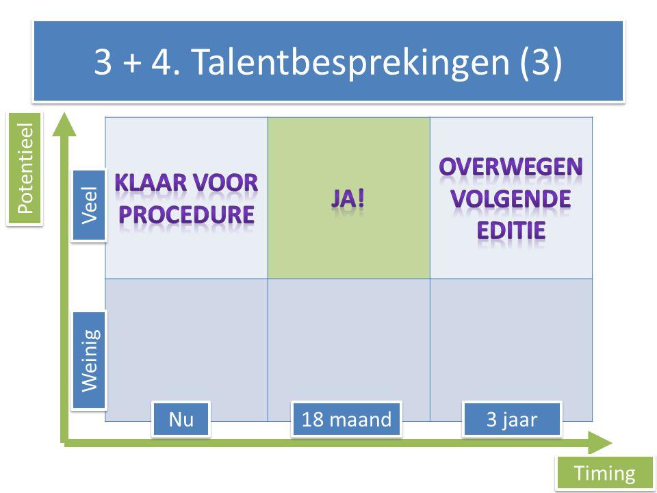 3 + 4. Talentbesprekingen (3) Timing Potentieel 3 jaar 18 maand Nu Weinig Veel