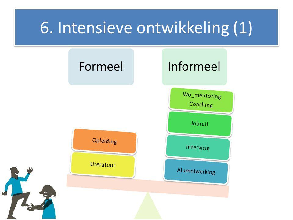 6. Intensieve ontwikkeling (1) FormeelInformeel AlumniwerkingIntervisieJobruil Wo_mentoring Coaching LiteratuurOpleiding