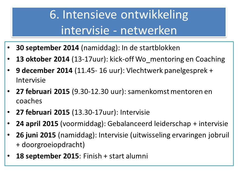 6. Intensieve ontwikkeling intervisie - netwerken 30 september 2014 (namiddag): In de startblokken 13 oktober 2014 (13-17uur): kick-off Wo_mentoring e