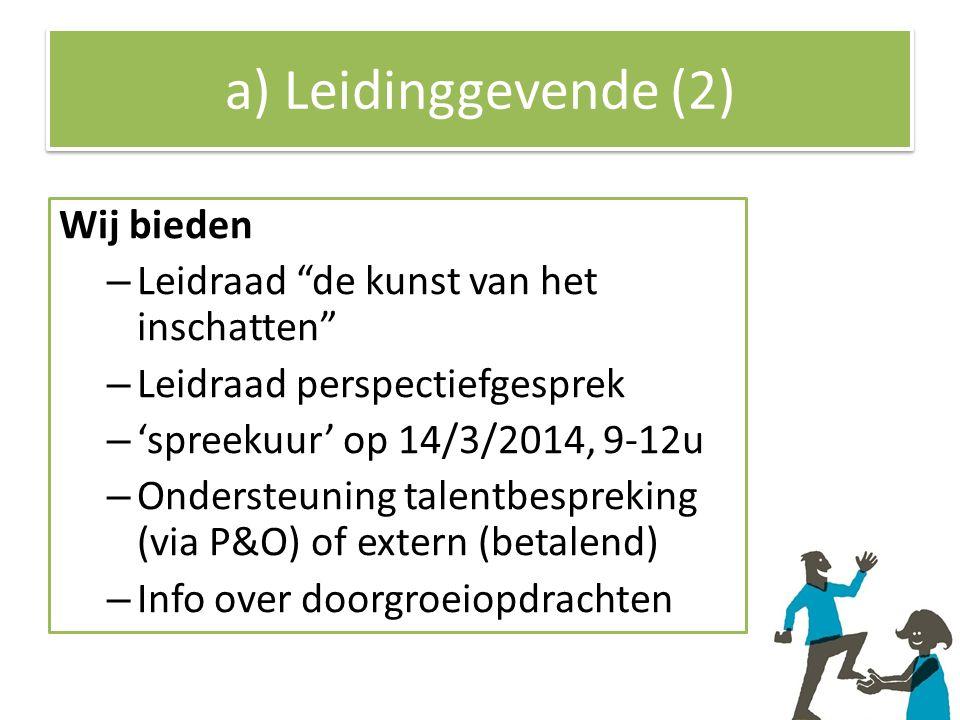 a) Leidinggevende (2) Wij bieden – Leidraad de kunst van het inschatten – Leidraad perspectiefgesprek – 'spreekuur' op 14/3/2014, 9-12u – Ondersteuning talentbespreking (via P&O) of extern (betalend) – Info over doorgroeiopdrachten