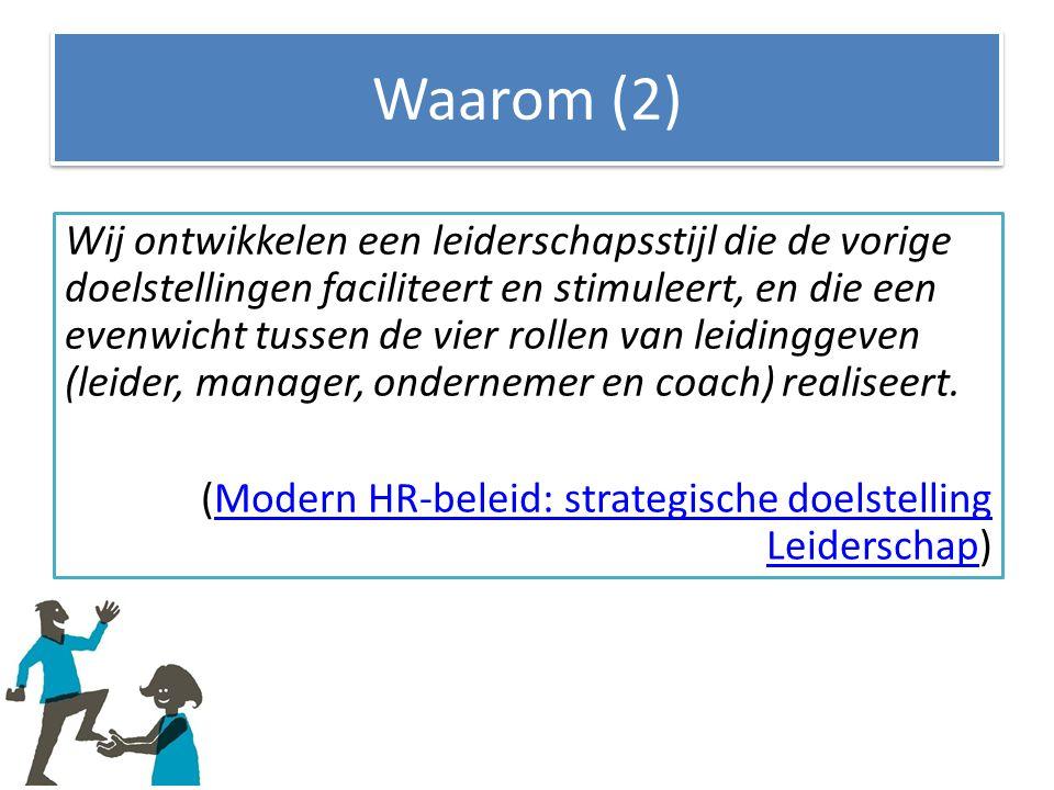 Waarom (2) Wij ontwikkelen een leiderschapsstijl die de vorige doelstellingen faciliteert en stimuleert, en die een evenwicht tussen de vier rollen van leidinggeven (leider, manager, ondernemer en coach) realiseert.