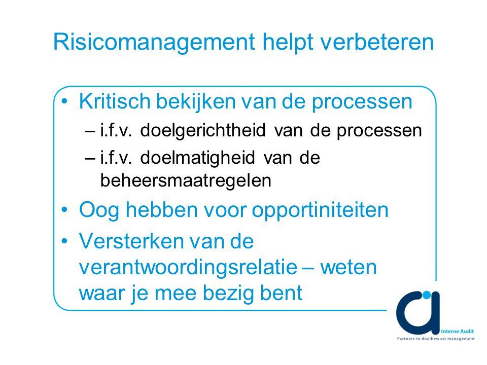 Risicomanagement helpt verbeteren Kritisch bekijken van de processen –i.f.v.