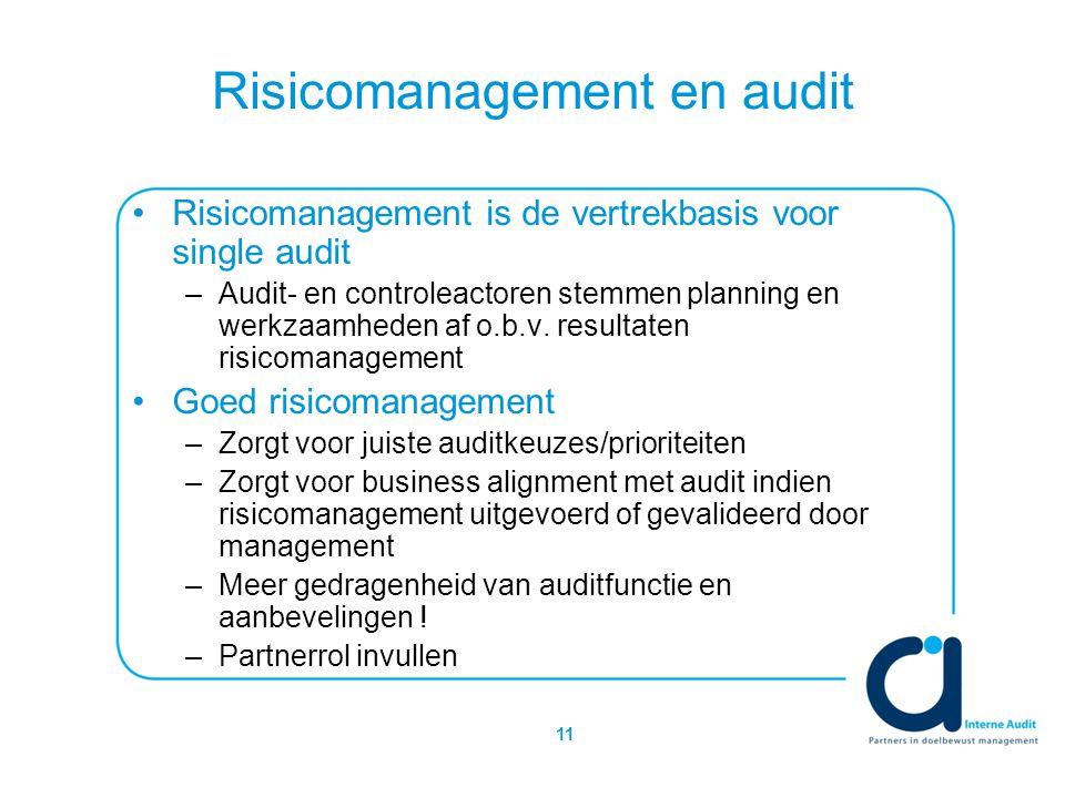 11 Risicomanagement en audit Risicomanagement is de vertrekbasis voor single audit –Audit- en controleactoren stemmen planning en werkzaamheden af o.b.v.