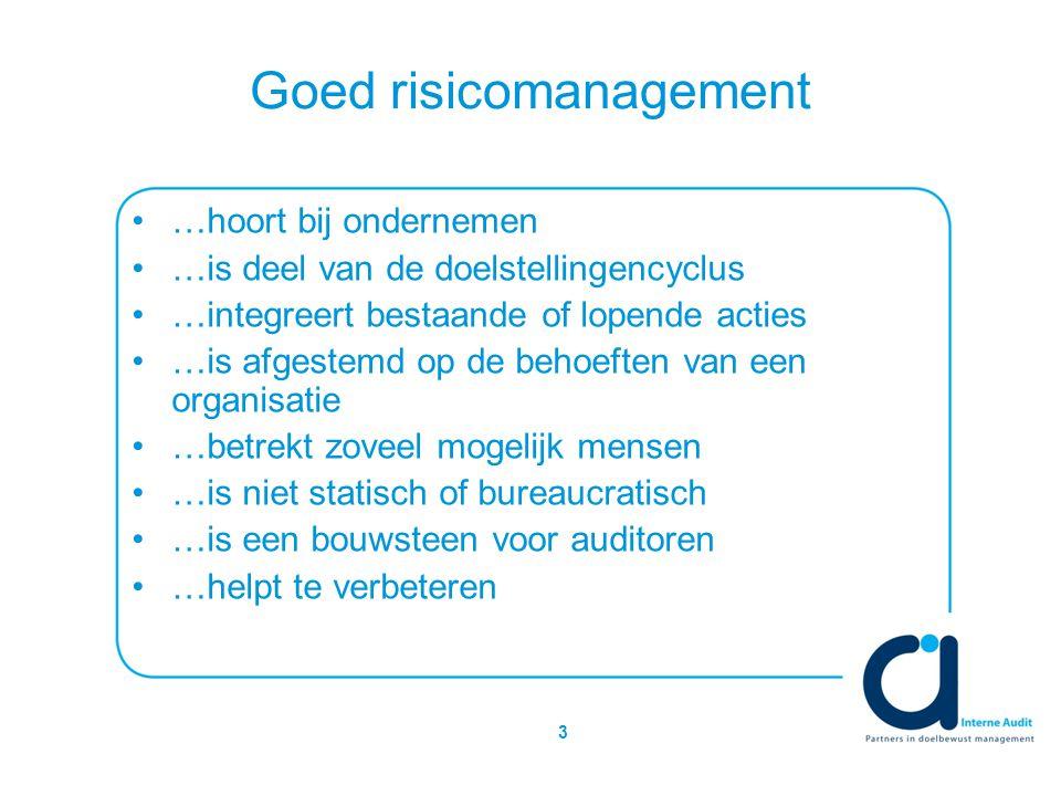 3 Goed risicomanagement …hoort bij ondernemen …is deel van de doelstellingencyclus …integreert bestaande of lopende acties …is afgestemd op de behoeften van een organisatie …betrekt zoveel mogelijk mensen …is niet statisch of bureaucratisch …is een bouwsteen voor auditoren …helpt te verbeteren