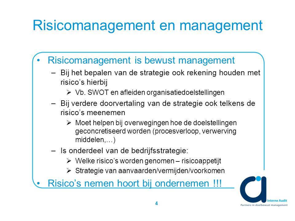 4 Risicomanagement en management Risicomanagement is bewust management –Bij het bepalen van de strategie ook rekening houden met risico's hierbij  Vb.