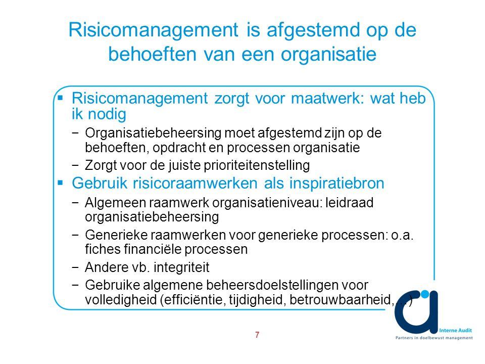 Risicomanagement is afgestemd op de behoeften van een organisatie 7  Risicomanagement zorgt voor maatwerk: wat heb ik nodig −Organisatiebeheersing moet afgestemd zijn op de behoeften, opdracht en processen organisatie −Zorgt voor de juiste prioriteitenstelling  Gebruik risicoraamwerken als inspiratiebron −Algemeen raamwerk organisatieniveau: leidraad organisatiebeheersing −Generieke raamwerken voor generieke processen: o.a.