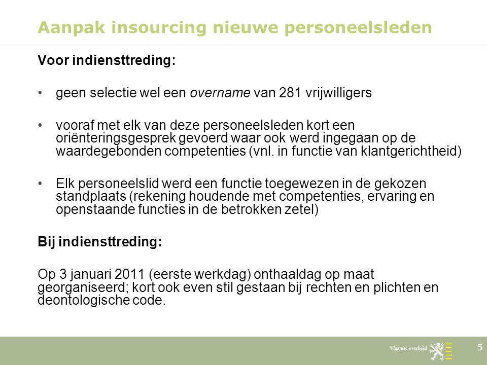 5 Aanpak insourcing nieuwe personeelsleden Voor indiensttreding: geen selectie wel een overname van 281 vrijwilligers vooraf met elk van deze personee