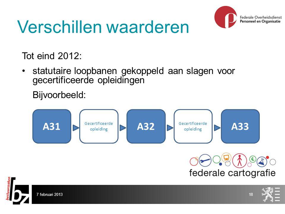 7 februari 201318 Tot eind 2012: statutaire loopbanen gekoppeld aan slagen voor gecertificeerde opleidingen Bijvoorbeeld: A31 Gecertificeerde opleiding A32A33 Gecertificeerde opleiding Verschillen waarderen