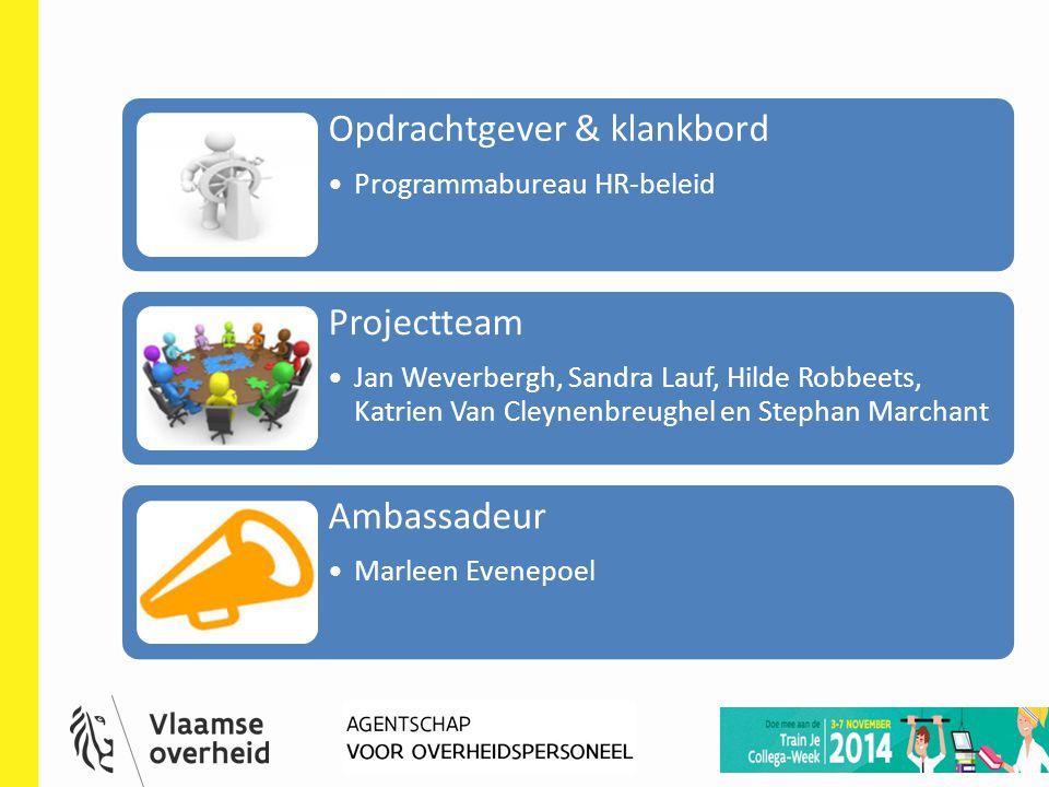 HR-deelnetwerk 23 mei 2014 10 Opdrachtgever & klankbord Programmabureau HR-beleid Projectteam Jan Weverbergh, Sandra Lauf, Hilde Robbeets, Katrien Van