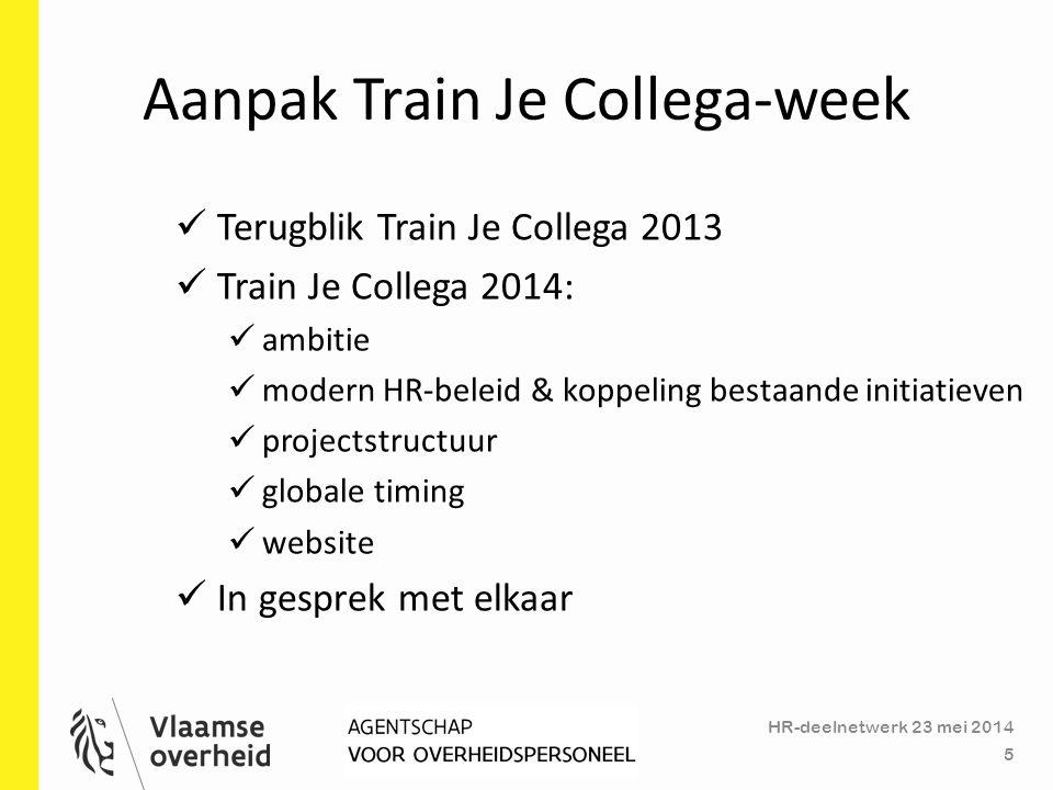 Aanpak Train Je Collega-week HR-deelnetwerk 23 mei 2014 5 Terugblik Train Je Collega 2013 Train Je Collega 2014: ambitie modern HR-beleid & koppeling