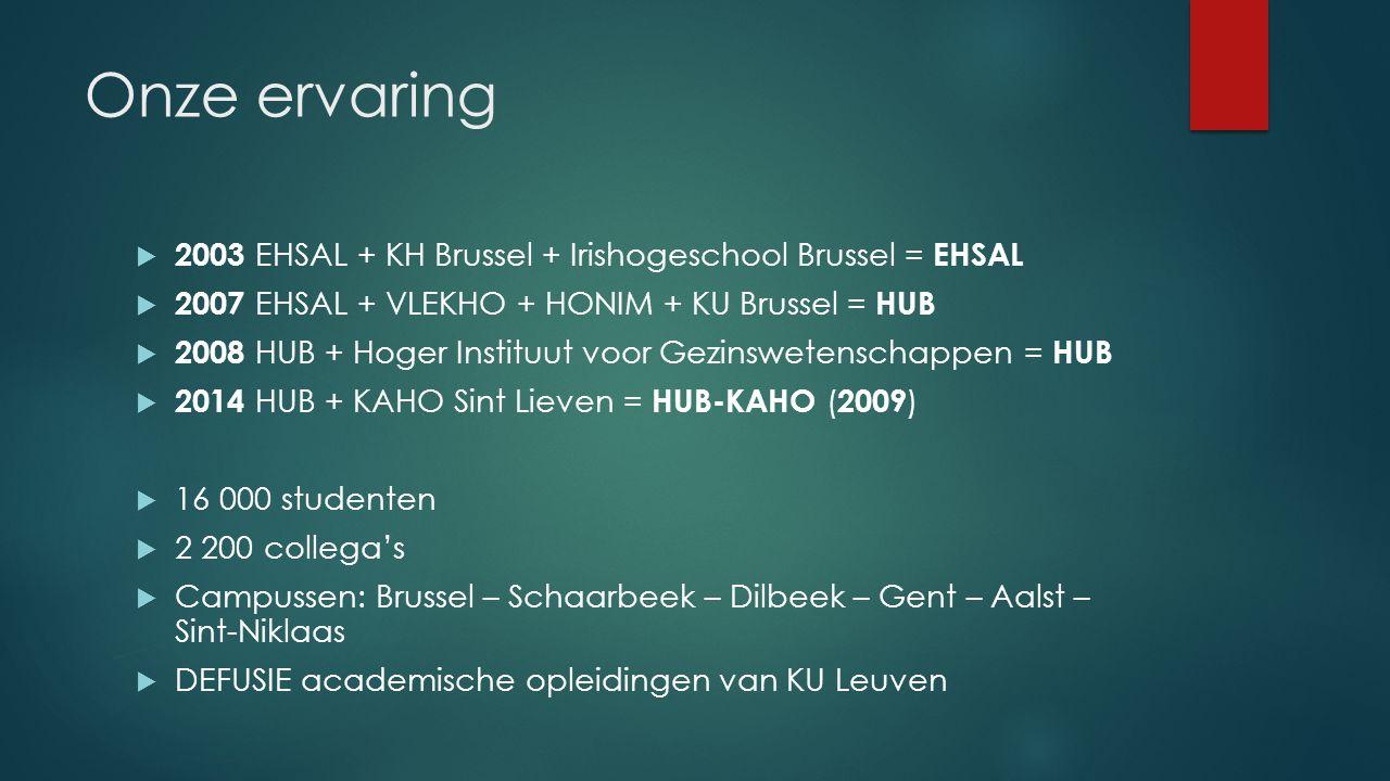 Onze ervaring  2003 EHSAL + KH Brussel + Irishogeschool Brussel = EHSAL  2007 EHSAL + VLEKHO + HONIM + KU Brussel = HUB  2008 HUB + Hoger Instituut voor Gezinswetenschappen = HUB  2014 HUB + KAHO Sint Lieven = HUB-KAHO ( 2009 )  16 000 studenten  2 200 collega's  Campussen: Brussel – Schaarbeek – Dilbeek – Gent – Aalst – Sint-Niklaas  DEFUSIE academische opleidingen van KU Leuven