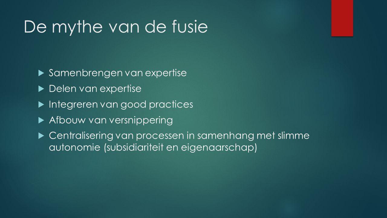 Vijf vragen bij fusie van diensten 1.Wie wordt de baas en hoe transparant is de aanduiding.