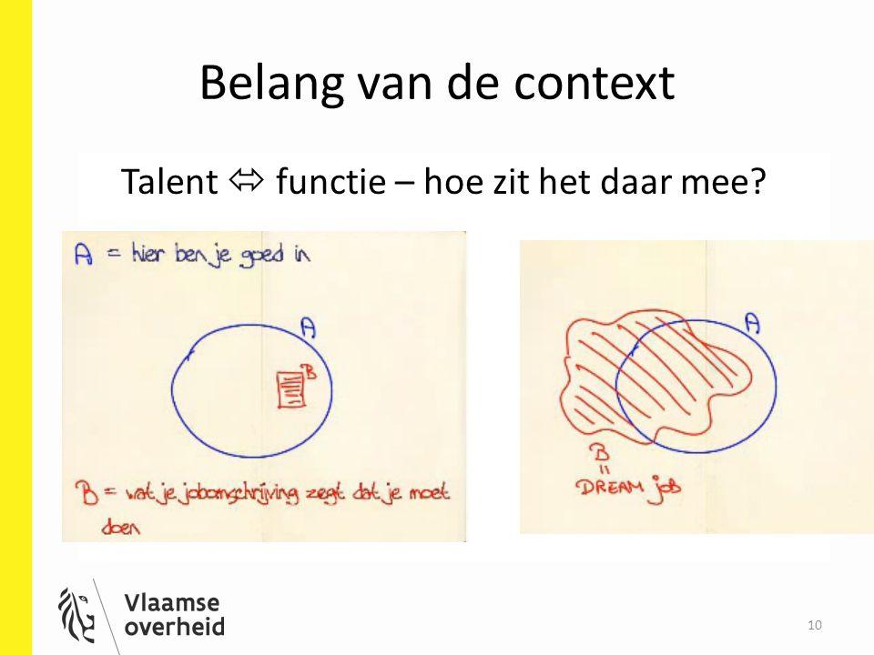 10 Belang van de context Talent  functie – hoe zit het daar mee?