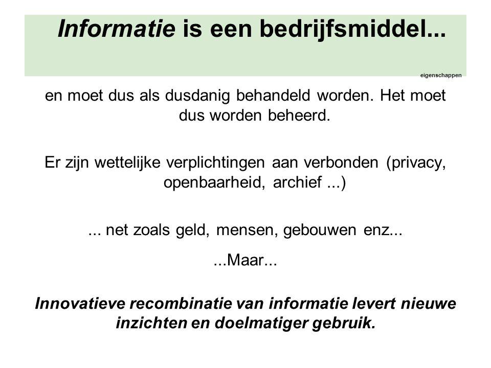 Informatie is een bedrijfsmiddel... eigenschappen en moet dus als dusdanig behandeld worden. Het moet dus worden beheerd. Er zijn wettelijke verplicht