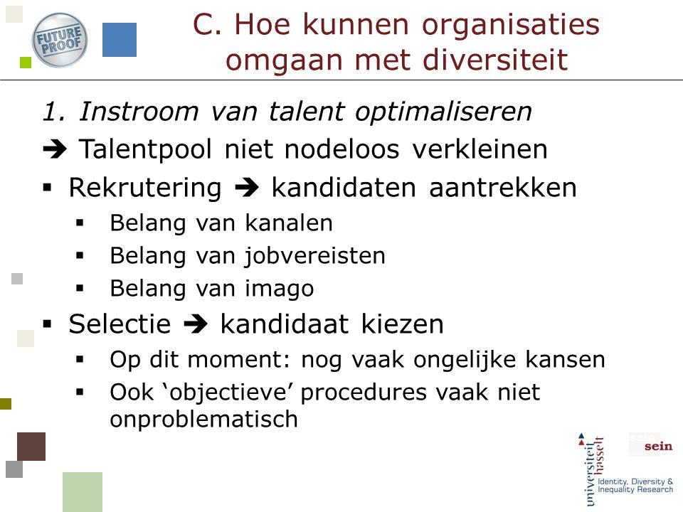 1.Instroom van talent optimaliseren  Talentpool niet nodeloos verkleinen  Rekrutering  kandidaten aantrekken  Belang van kanalen  Belang van jobv