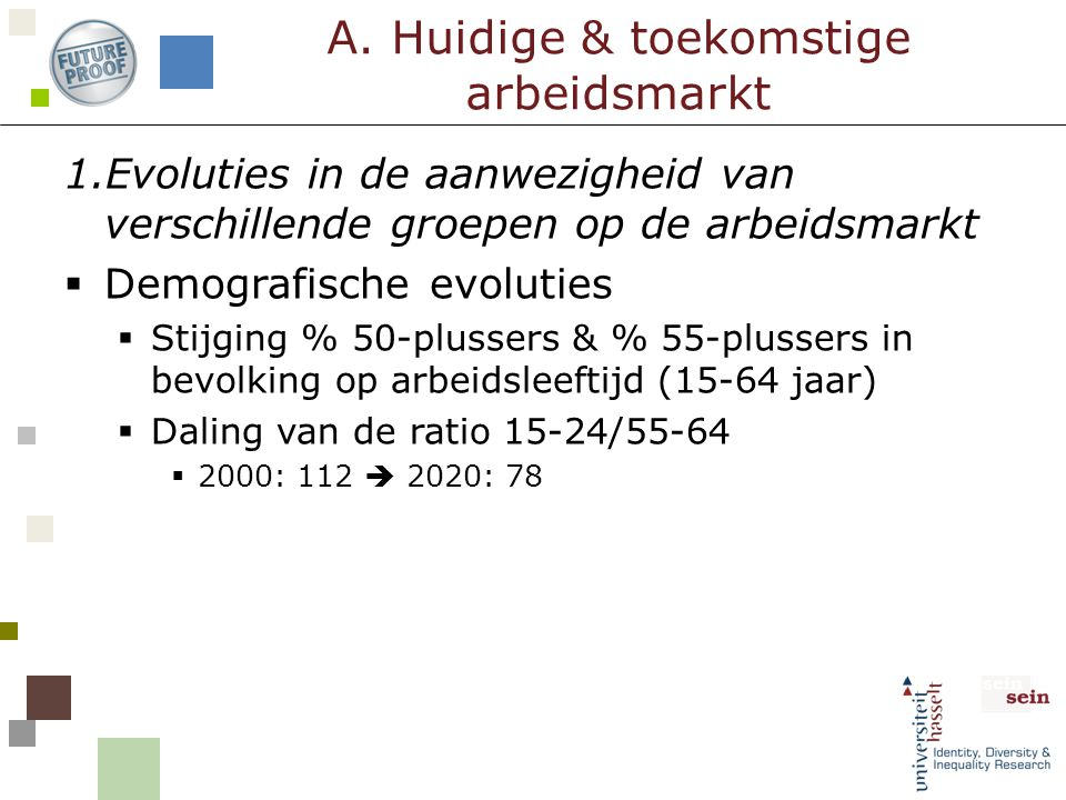 1.Evoluties in de aanwezigheid van verschillende groepen op de arbeidsmarkt  Demografische evoluties  Stijging % 50-plussers & % 55-plussers in bevo
