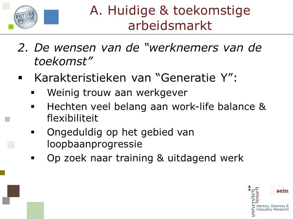 """2.De wensen van de """"werknemers van de toekomst""""  Karakteristieken van """"Generatie Y"""":  Weinig trouw aan werkgever  Hechten veel belang aan work-life"""