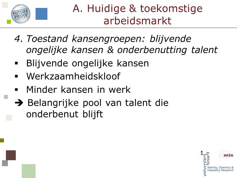 4.Toestand kansengroepen: blijvende ongelijke kansen & onderbenutting talent  Blijvende ongelijke kansen  Werkzaamheidskloof  Minder kansen in werk
